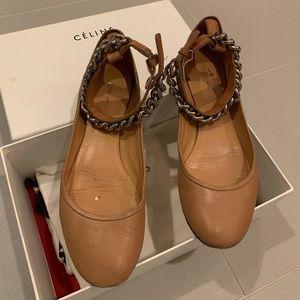 Céline tan flats with chain ankle strap - sz 38.5